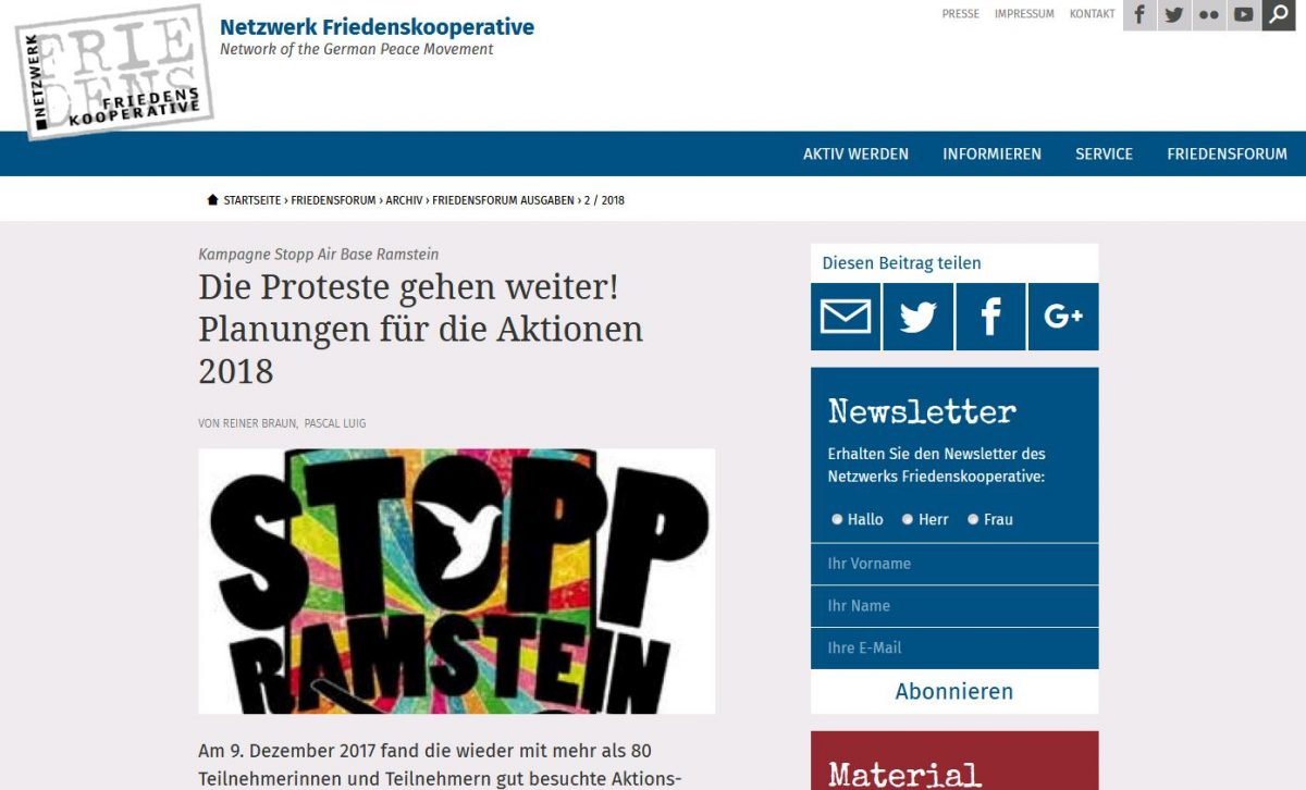 FriedensForum: Kampagne Stopp Air Base Ramstein