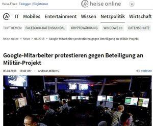 heise online: Google-Mitarbeiter protestieren gegen Beteiligung an Militär-Projekt