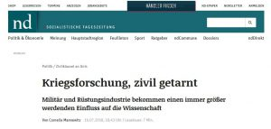 ND: Kriegsforschung, zivil getarnt