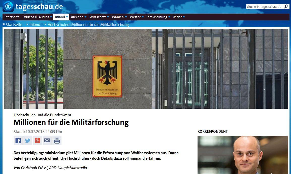 Tagesschau: Hochschulen und die Bundeswehr – Millionen für die Militärforschung