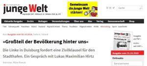 Junge Welt: »Großteil der Bevölkerung hinter uns« – Zivilklausel für den Stadthafen in Duisburg
